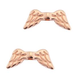 Kralen DQ metaal angel wings Rosé goud (nikkelvrij), 2 stuks