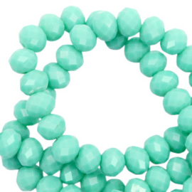 Top Facet kralen 6x4 mm disc Spearmint green-pearl shine coating  (20 stuks)