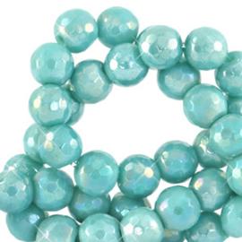 8 mm natuursteen kralen facet geslepen Canton blue-AB coating (10 stuks)