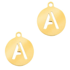 Roestvrij stalen (RVS) Stainless initial bedel A Goud