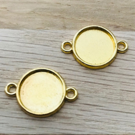Metaal settings 2 oog voor 12mm goud, (nikkelvrij)
