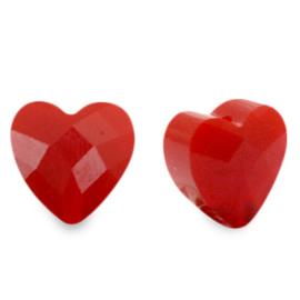 Fashion Facet kralen hart Siam red