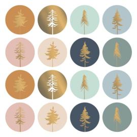Wensetiket rond 50mm - Lovely trees ( 8 stuks)