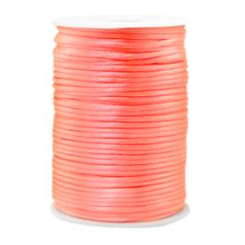 Satijn draad 2.5mm Peachy Neon pink, 2 meter