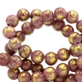 6 mm natuursteen kralen jade Mauve purple-gold, 10 stuks