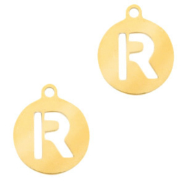 Roestvrij stalen (RVS) Stainless initial bedel R Goud