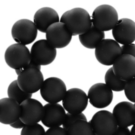 8 mm acryl kralen mat Deep black, 20 stuks