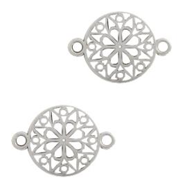 Bedels DQ metaal tussenstuk bloem rond 15mm Zilver (nikkelvrij)
