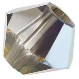 Preciosa Rondelle Bead/Bicone, 6 mm, crystal 2sd marea, 2 stuks