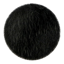 Faux fur cabochons Black 35mm