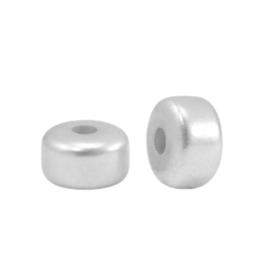 Polaris kralen Glaze rondellen 6mm metallic shiny Delfino grey, 4 stuks