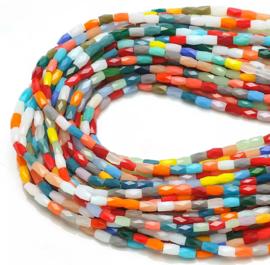 Top Facet kralen tubes Multicolor 5x3 mm  (10 stuks)