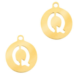 Roestvrij stalen (RVS) Stainless initial bedel Q Goud