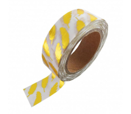 Masking tape Wit met gouden Feather