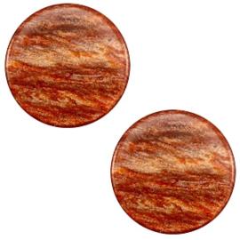 7 mm platte cabochon Polaris Elements Sparkle dust Copper brown, 2 stuks