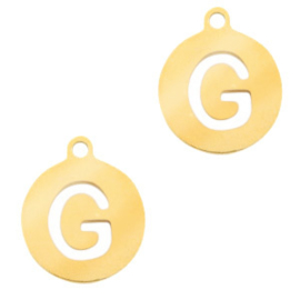 Roestvrij stalen (RVS) Stainless initial bedel G Goud