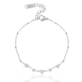 Roestvrij stalen (RVS) Stainless steel armbanden hearts & stars Zilver