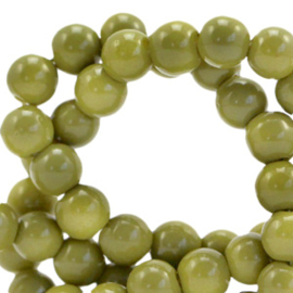 6 mm glaskralen opaque Green olive, 50 stuks