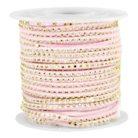 Imi suède 3mm met Gold-pastel light pink, per meter