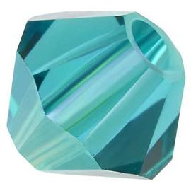 Preciosa Rondelle Bead/Bicone, 6 mm, blue zircon AB, 2 stuks
