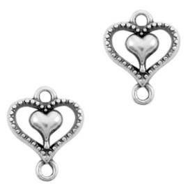 Bedels DQ metaal tussenstuk hart Zilver (nikkelvrij)