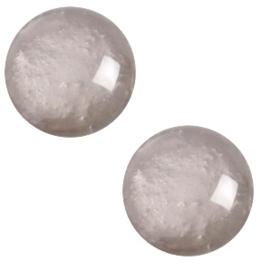 12 mm classic cabochon Polaris Elements pearl shine Acciaio grey, 2 stuks