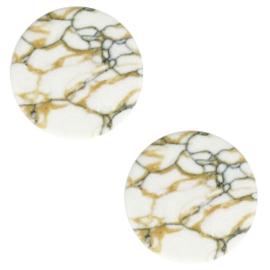 Cabochon basic plat stone look 12mm White-beige black