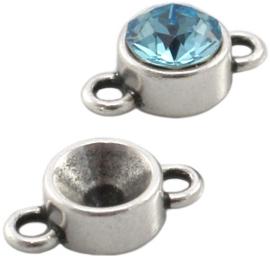Puntsteen Setting SS39 DQ twee ogen Zilver, 2 stuks (nikkelvrij)