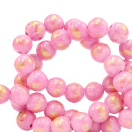 4 mm natuursteen kralen jade Azalea pink-gold, 10 stuks