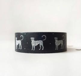 Masking tape zwart met witte panters