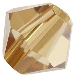Preciosa Rondelle Bead/Bicone, 6 mm, crystal golden flare, 2 stuks