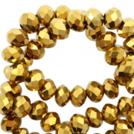 Top Facet kralen 8x6 mm disc Gold-amber coating