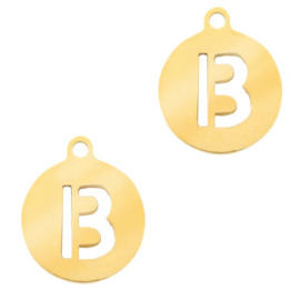 Roestvrij stalen (RVS) Stainless initial bedel B Goud