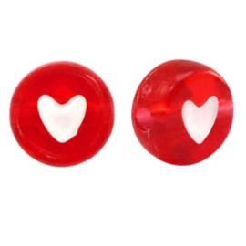 Letterkralen van acryl hartje Red, 100 stuks