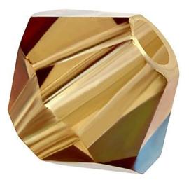 Preciosa Rondelle Bead/Bicone, 6 mm, light Colorado topaz AB, 2 stuks