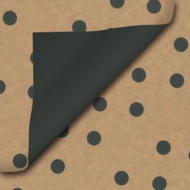 Inpakpapier kraft-zwart-stip