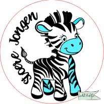 Sluitsticker op rol  50mm Baby Zebra stoer J/M  verpakt in PP-zakjes.