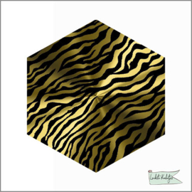 Hexagon Sticker Zebra Goud