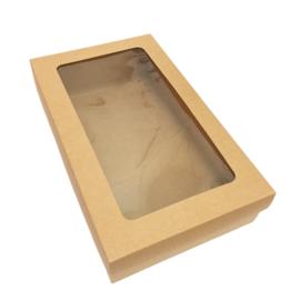 Box met venster kraft 28 x 6 x 17 cm