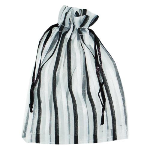 Organza zakjes zwart/wit streep
