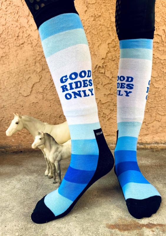 Paardrijsokken Good Rides Only, blauw