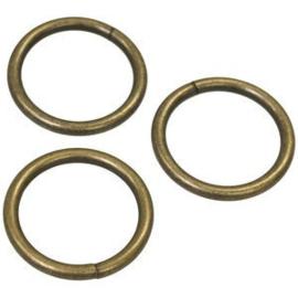 Metalen bronskleurige ring 25 mm
