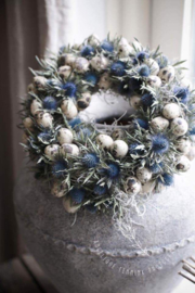 Diy pakket paaskransje Blauwe Distel , tillantia en eitjes.  25 cm