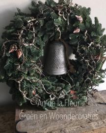 Kerst deurkrans 50 a 55 cm incl zinken klok