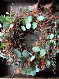 Krans Bonsai - Rode Rozenbotteltjes 55 cm