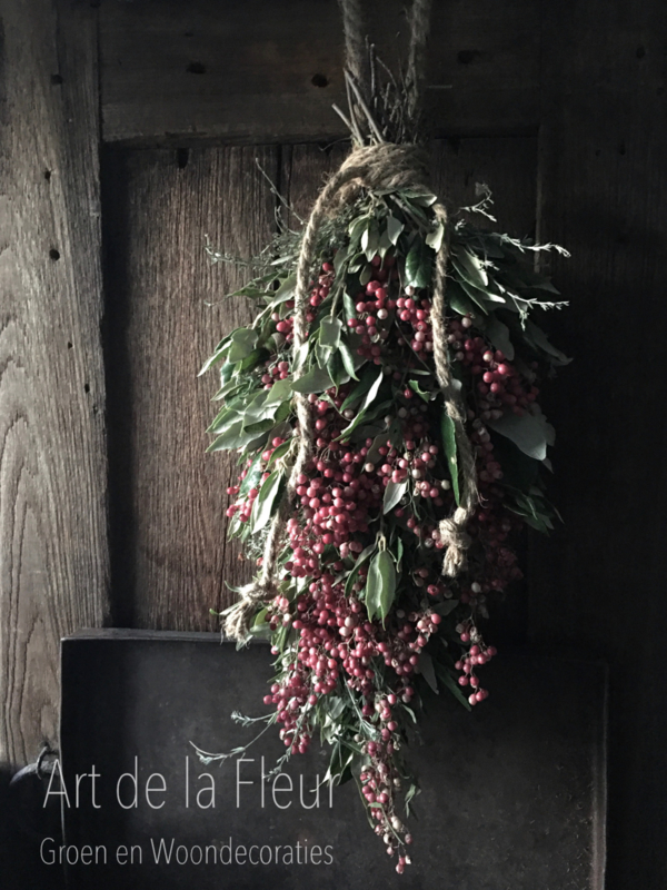 DIY Pakket steeneiktoef met pepperberries  50 cm