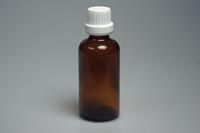 Flesje glas amber 50 ml met dop en druppelaar