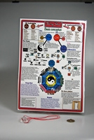 Fengshui kaart met bergkristal en fengshui munt