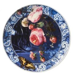 Wandbord Delfts Blauw 'Bloemen van de Gouden Eeuw' - Ø 26,5 cm