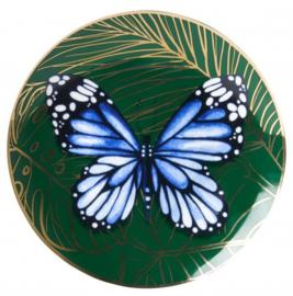 Wandbordje Blauwe Vlinder - Ø 16 cm